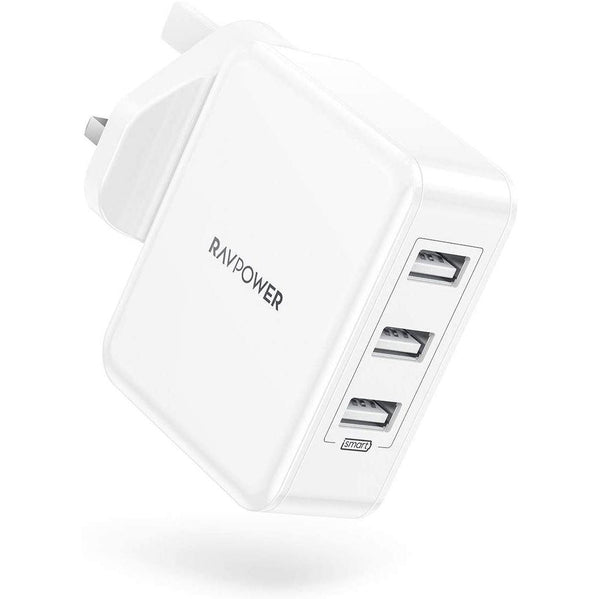 RAVPower 30W 3-Port USB Wall Chargers with iSmart 2.0- Model: RP-PC020 (White)