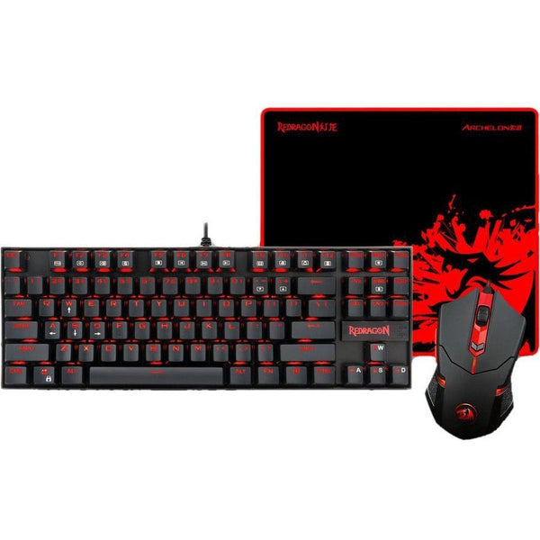 REDRAGON Gaming Keyboard & Mouse Plus Mouse Pad Combo (Red LED Backlit)- Model: K552-BA-UK (Black)