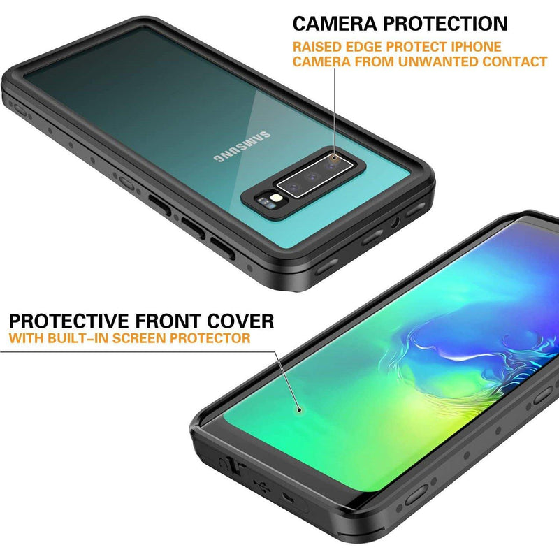 Redpepper Samsung Galaxy S10 Waterproof Case, S10 Case Built in Screen Protector 360° Full Body Protective 6.1inch(Black/Clear)