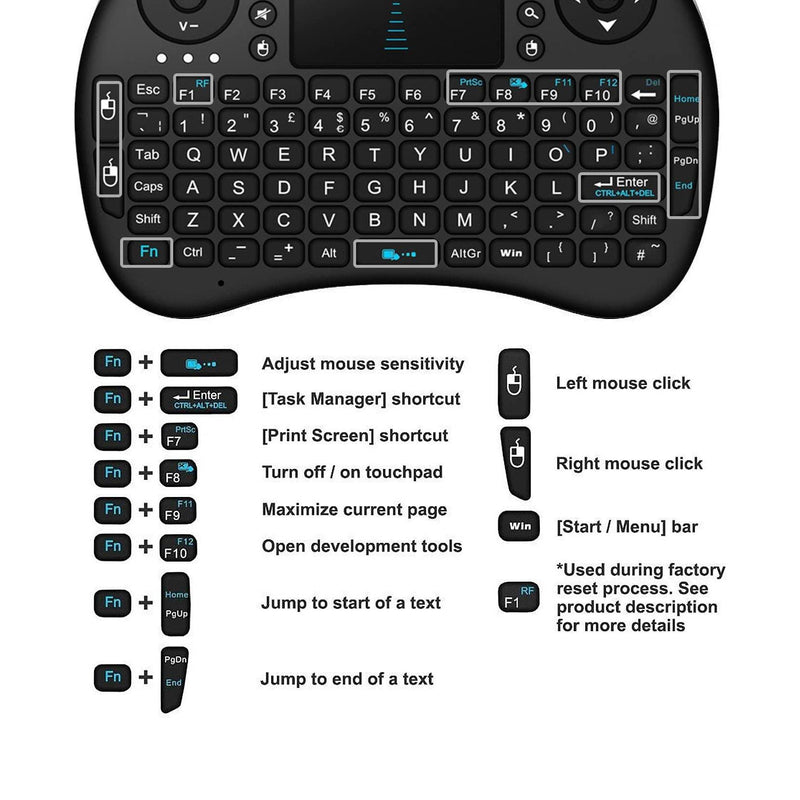Rii i8 2.4GHz RF Mini Wireless Keyboard with Touch Pad Mouse Black UK Layout-Model: BT08-(Black)