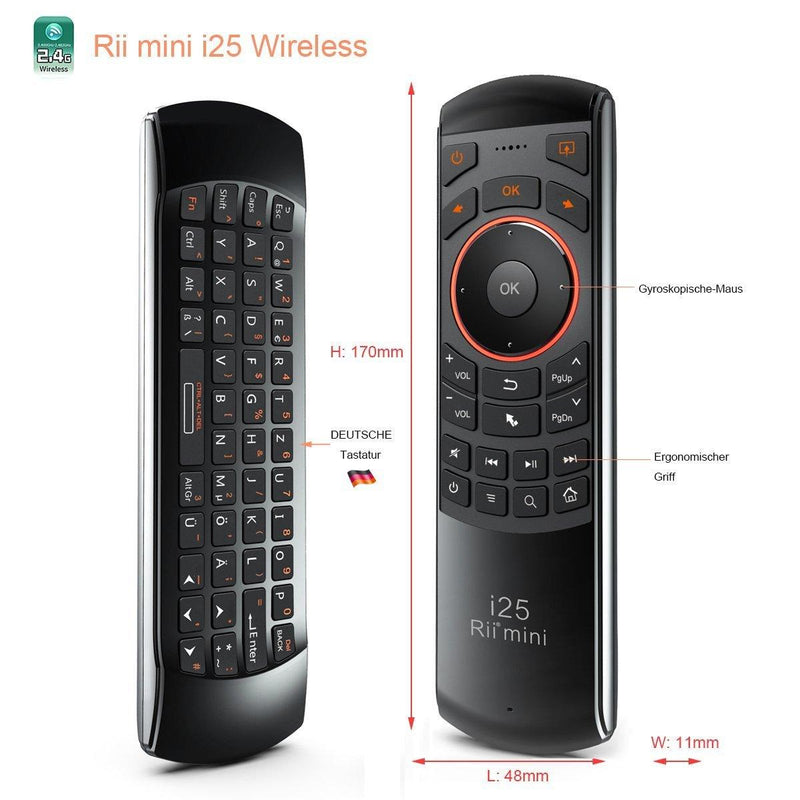 Rii Wireless Keyboard with Air Mouse & IR Remote for Android TV Box Mini  Model:i25 (Black)