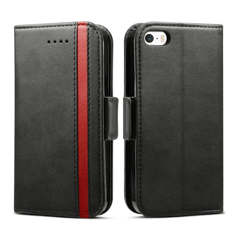 Rssviss iPhone SE Case, iPhone 5 Case, Protective Leather Wallet Magnetic Flip Cover-(Black)
