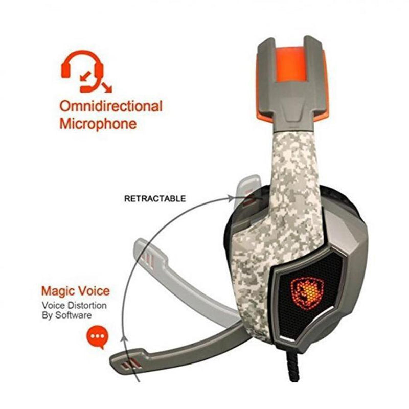 SA917 Wired Over-Ear USB Stereo Gaming Headset - Army Green-Orange - SADES