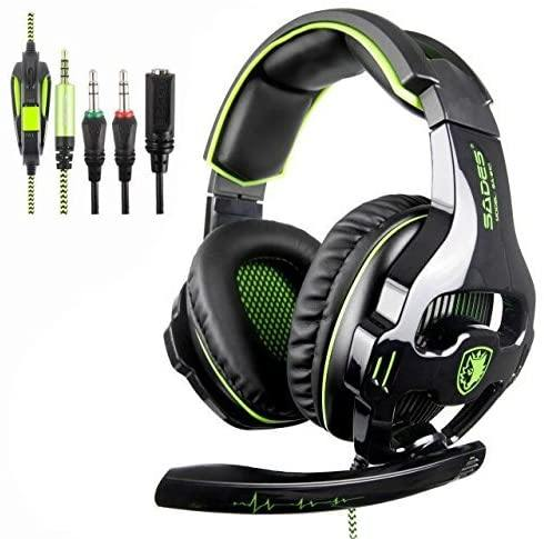 SADES Gaming Headphones with Noise Isolation Microphone- Model: SA-810 (Green/Black) - DealsnLots