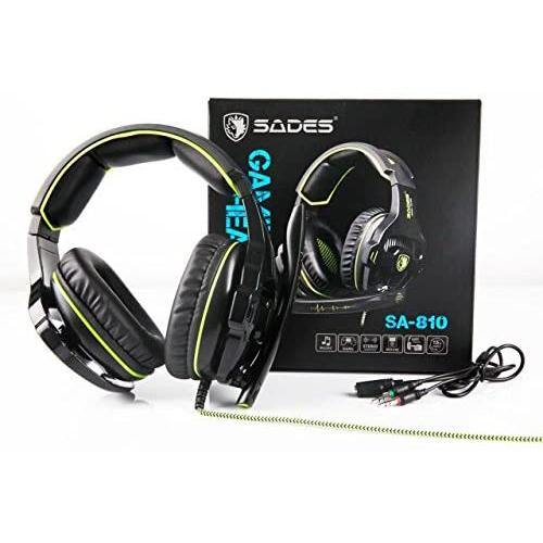 SADES Gaming Headphones with Noise Isolation Microphone- Model: SA-810 (Green/Black)
