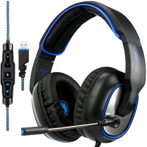 SADES R7 USB 7.1 Surround Sound Over-ear Gaming Headphones