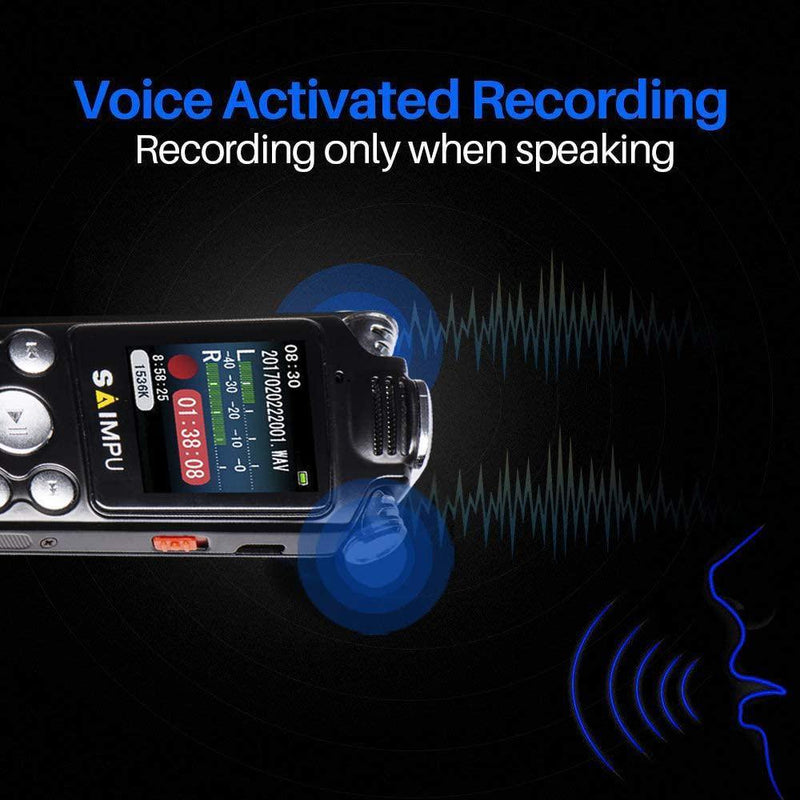 SAIMPU Digital Voice Recorder 8gb Dictaphone with Mp3 Player Professional Noise Reduction Rechargeable Recording Device- Model: SP1333 (Black)