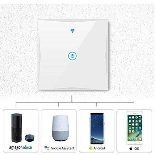 SAINKO Smart Light type 86 Wi-Fi Smart Switch Wall Wireless Tempered Glass Touch-Screen Compatible with Amazon Alexa and Google Home, No Hub Required 1800w- Model: KS-601 (White)