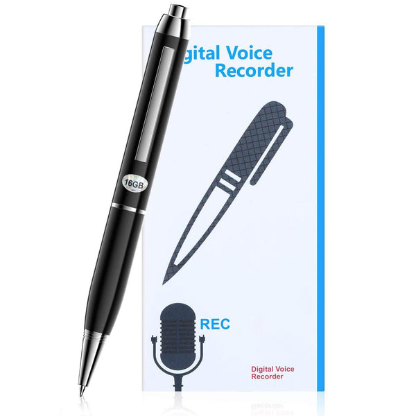 SAVFY 16GB Digital Voice Recorder Pen Mini Pocket Dictaphone Voice Activated One Button Recording and Saving MP3 USB Dick for Speech Learning Meeting Model:GAD008BK (Black)