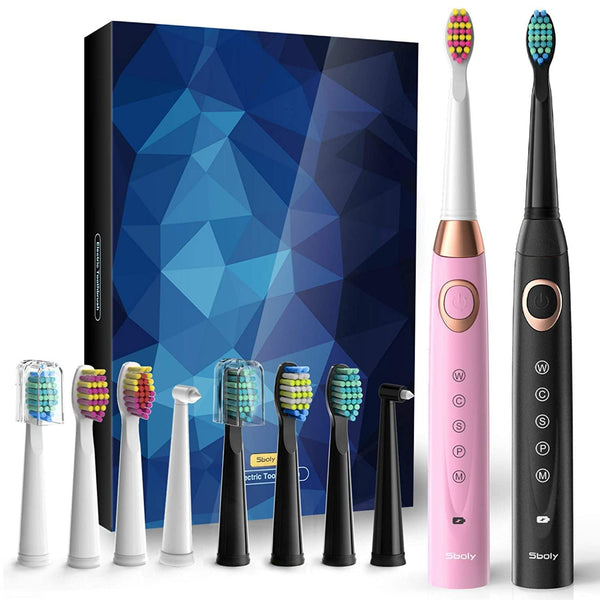 SBOLY 2 Sonic Electric Toothbrushes 5 Modes 8 Brush Heads USB Fast Charge Powered