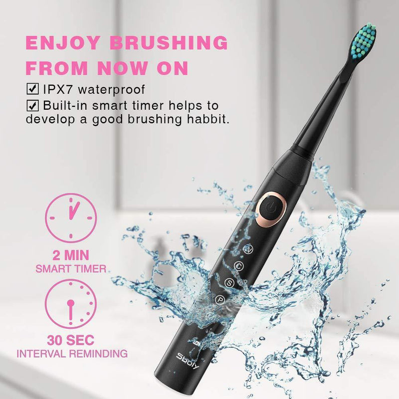 SBOLY 2 Sonic Electric Toothbrushes 5 Modes 8 Brush Heads USB Fast Charge Powered - DealsnLots