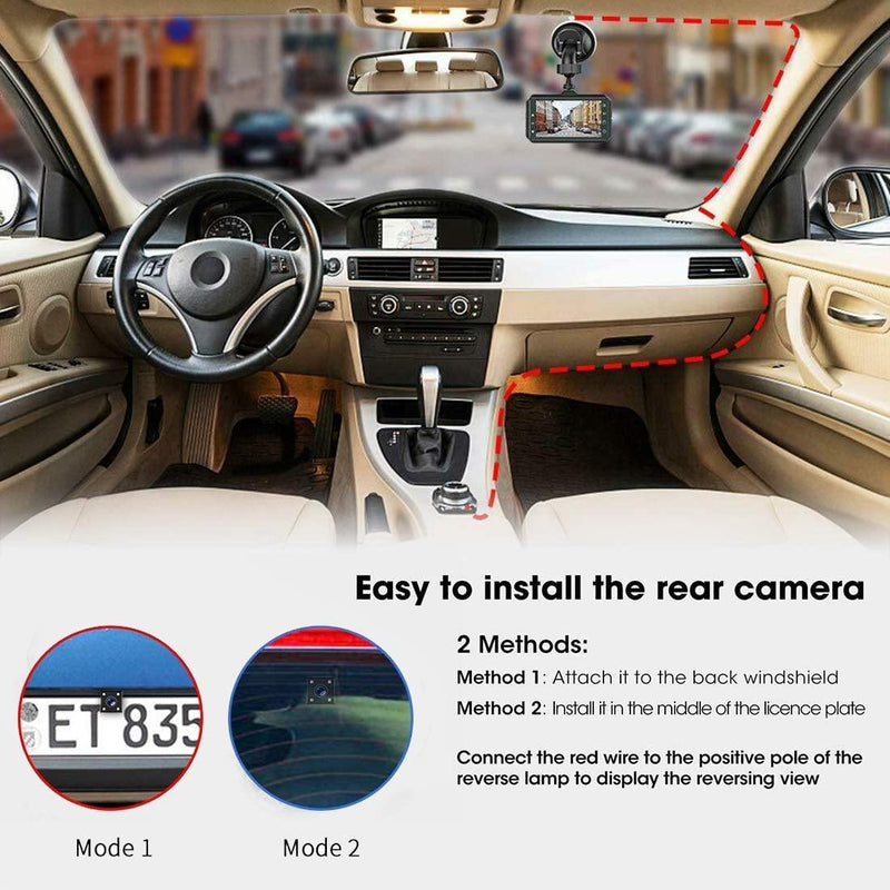 SUPAREE Dash Cam for Cars Front and Rear with Night Vision 1080P Full HD Car Camera (Black)