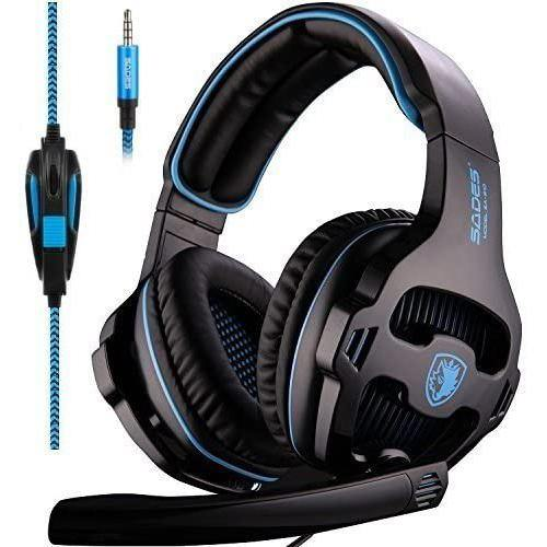 Sades Gaming Headphone with Noise Isolation Microphone - Model: SA-810 (Blue/Black) - DealsnLots