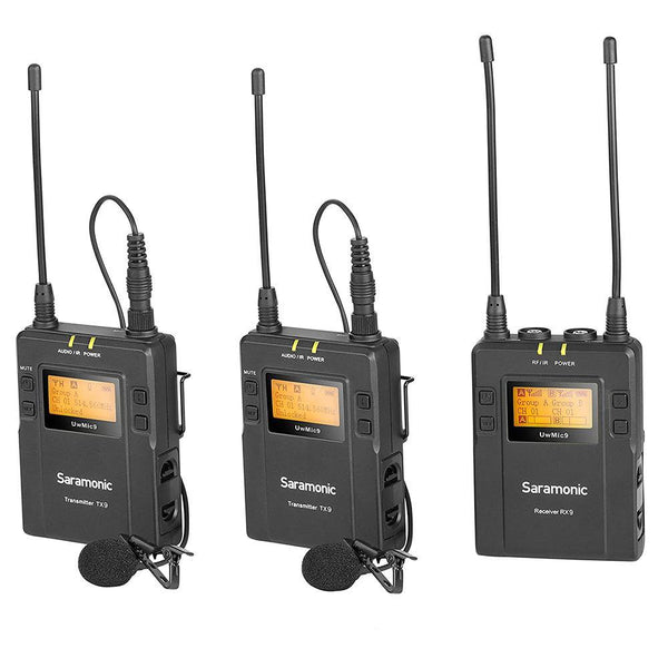 Saramonic UwMic9 2-Person Camera-Mount Wireless Omni Lavalier Microphone System (514 to 596 MHz) - DealsnLots