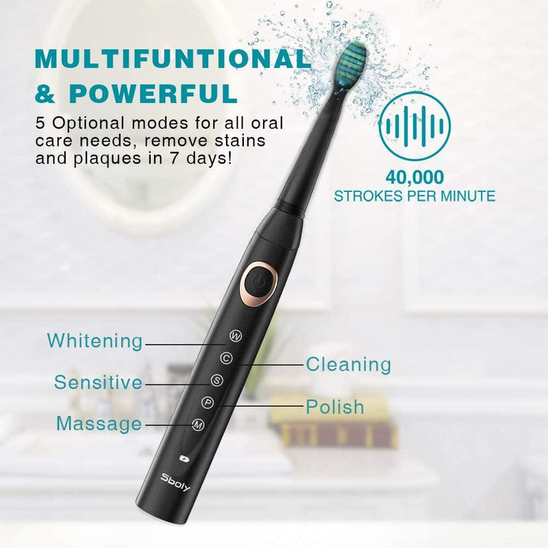Sboly 2 Sonic Electric Toothbrushes 5 Modes 8 Brush Heads USB Fast Charge Powered-(1 Black and 1 White)