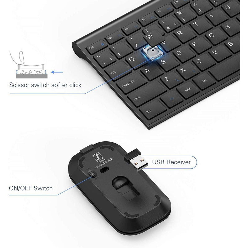 Seenda Wireless 2.4G Keyboard and Mouse Combo for Windows Laptop Computer-Model: WGJP-031 (Black)