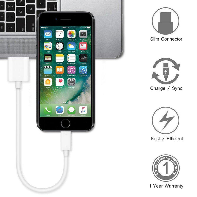 Short Lightning to USB Charging and Sync Cable-(White) - DealsnLots