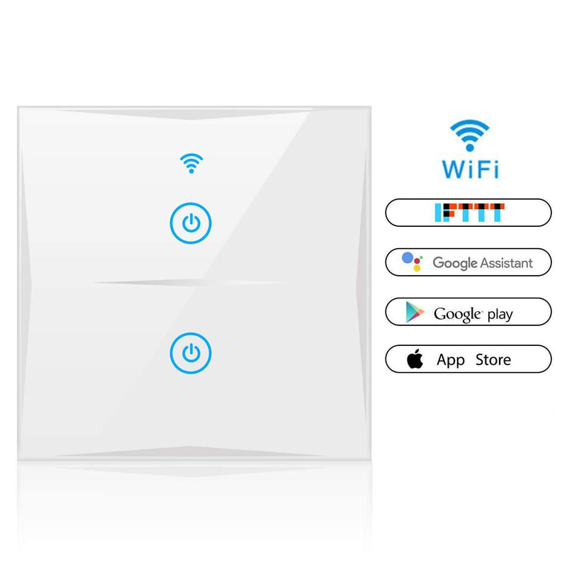 Smart Light Switch, WiFi 2-Gang Wall Wireless Tempered Glass Touch-Screen Switch Compatible Model:KS-60 (White)