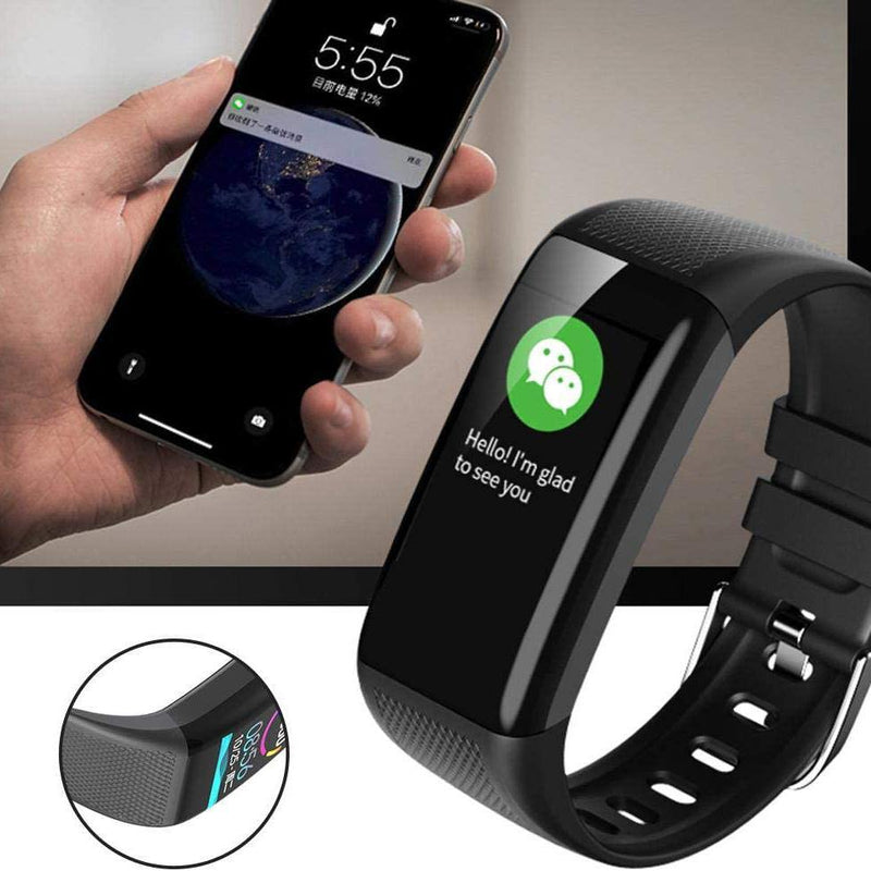 Smart Bracelet With Heart Rate Sleep Monitor - Activity Tracker - Step Calorie Counter - Call SMS Reminder - IP67 Waterproof Smart Bracelet - Model: C20 - (Black)