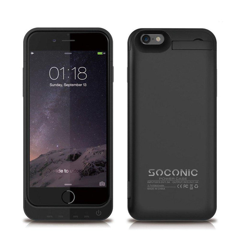 Soconic External Battery Case For iPhone 6s-5800mah-(Black)