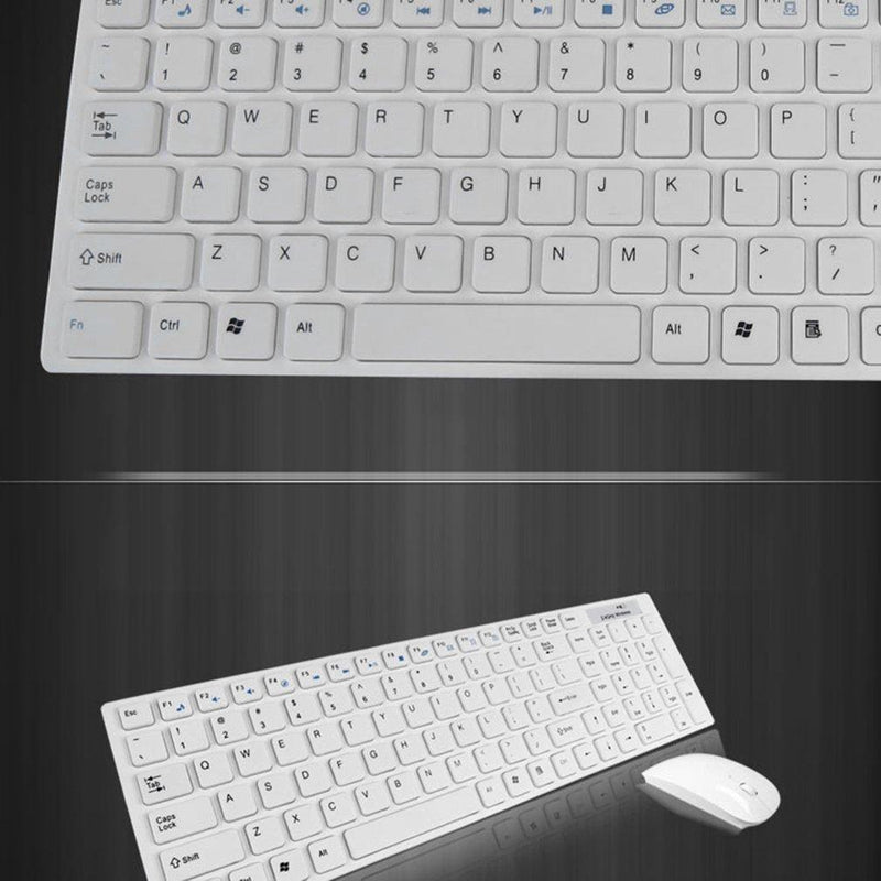 TE Multimedia 2.4G Wireless Keyboard With Optical Mouse USB Dongle Combo Set (White)