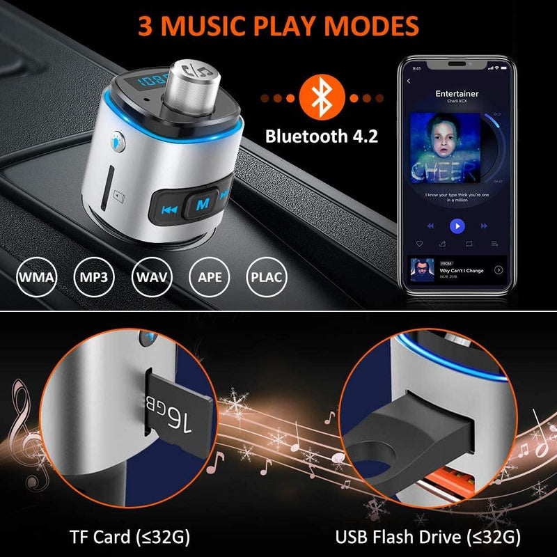 TEUMI Bluetooth FM Transmitter, 7 Color LED Backlit Car Kit with 2 USB Ports Model: BC24 (Silver/Black)