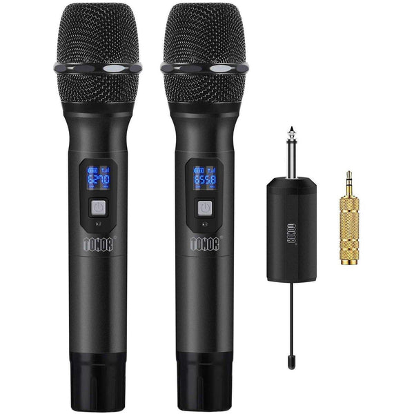 "TONOR Wireless Microphone Metal Handheld System UHF 25 Channel with Mini Receiver 1/4"" Output for PA Systems/Stage/Church/Party/Karaoke/Business Meeting(Black)"