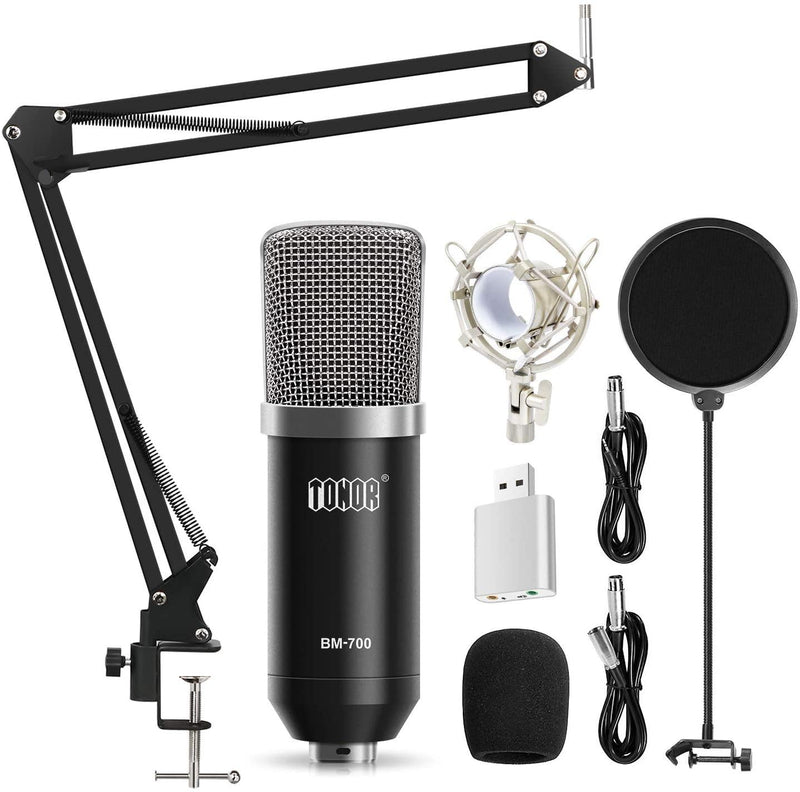 TONOR XLR Condenser Microphone Kit- Model: BM-700 (Black)