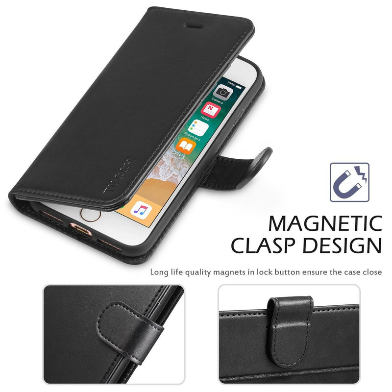 TUCCH iPhone 7-8 Case, Wallet Case, Premium PU Leather Flip Folio Wallet Case-(Black)