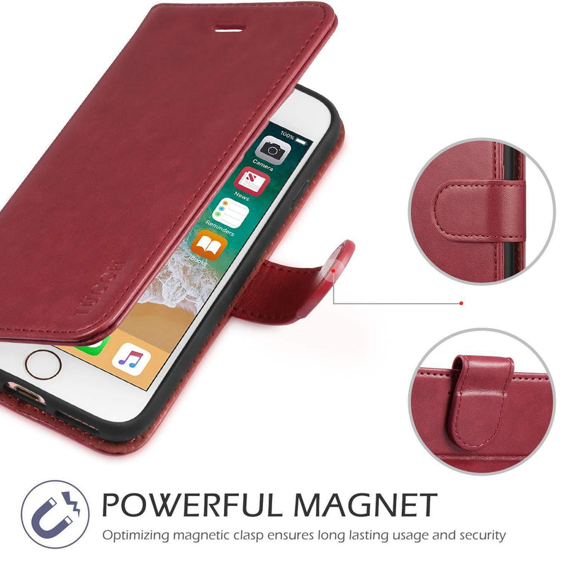 TUCCH iPhone 7-8 Premium Leather Wallet Case - Red - DealsnLots