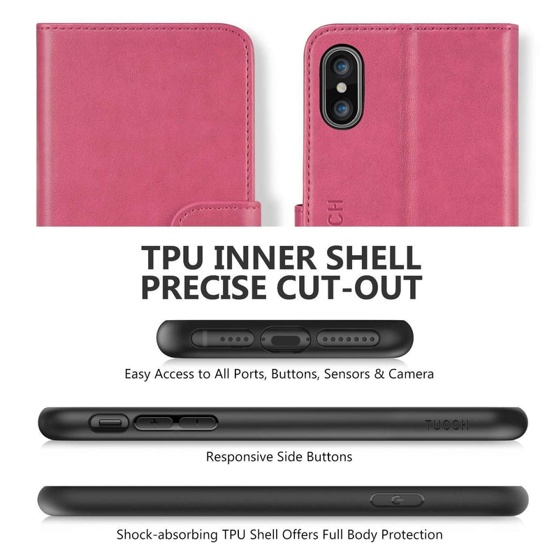 TUCCH iPhone Xs Max Leather Wallet Case Pink - DealsnLots