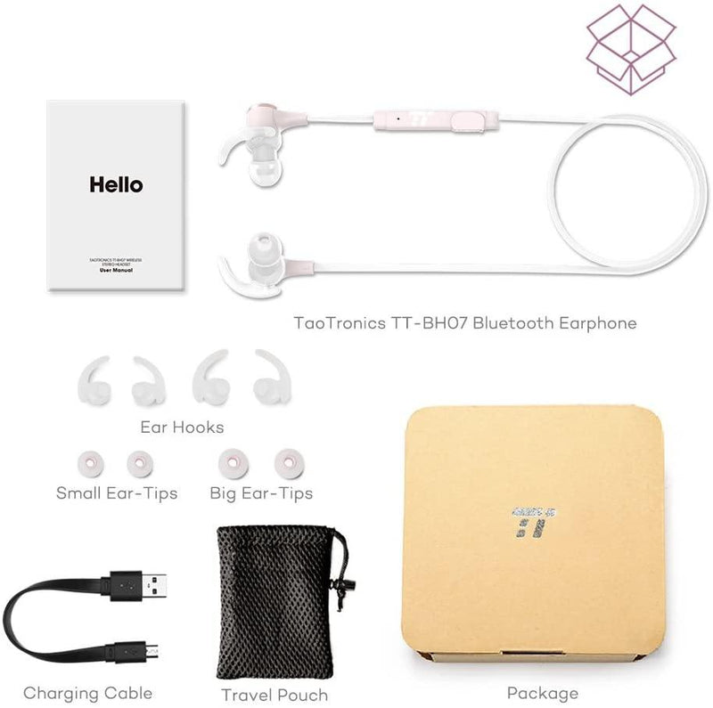 TaoTronics Wireless Bluetooth 5.0 Magnetic IPX7 Sports Earphones Model: TT-BH07 (Pink)
