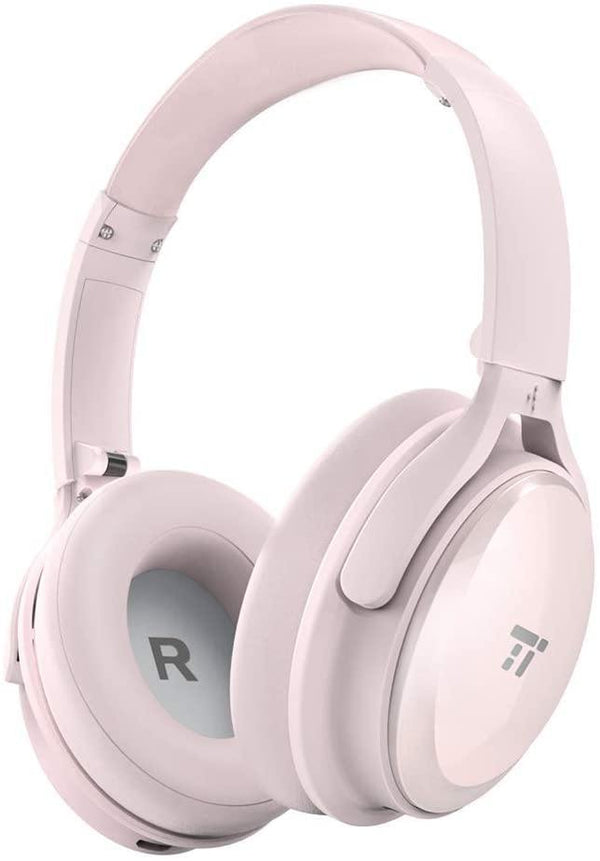 TaoTronics Wireless Bluetooth Over Ear Headphones, Active Noise Cancelling- Model: TT-BH22 (Pink)
