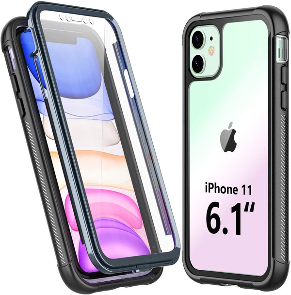 Temdan iPhone 11 Case,Full Body Built in Screen Protector, Support Wireless Charging, Heavy Duty Rugged Drop proof Case : Black