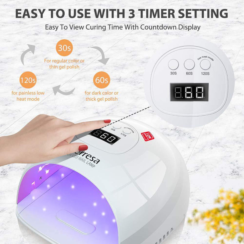 Terresa 2 IN 1 UV LED Nail Lamp 72W Auto Sensor with 3 Timer Setting and LCD Display- Model: T1 (White)