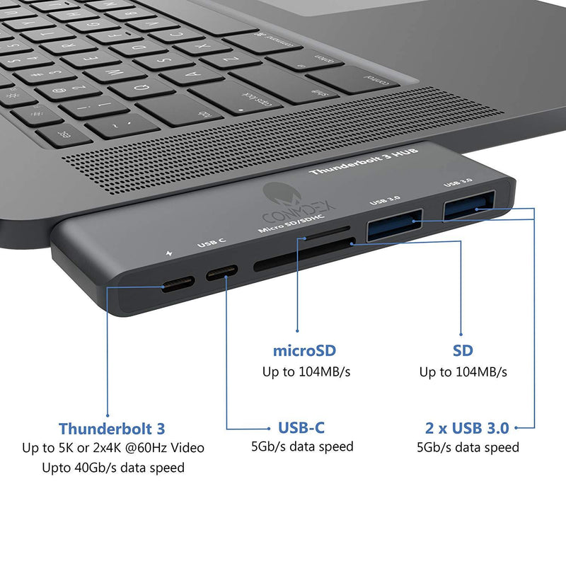 CONMDEX Aluminum Type C Adapter, Thunderbolt 3 Hub (Space Gray)