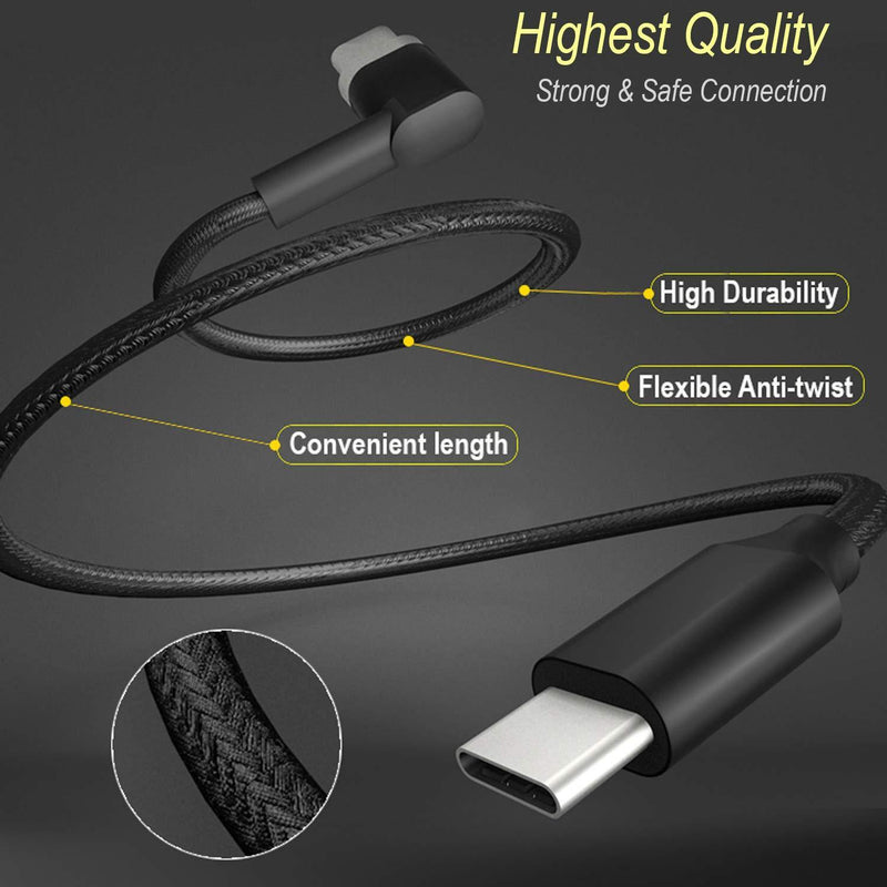 Type-C to type-C Magnetic Cable for MacBook Pro Nylon Braise Cord (2 M) (Black)