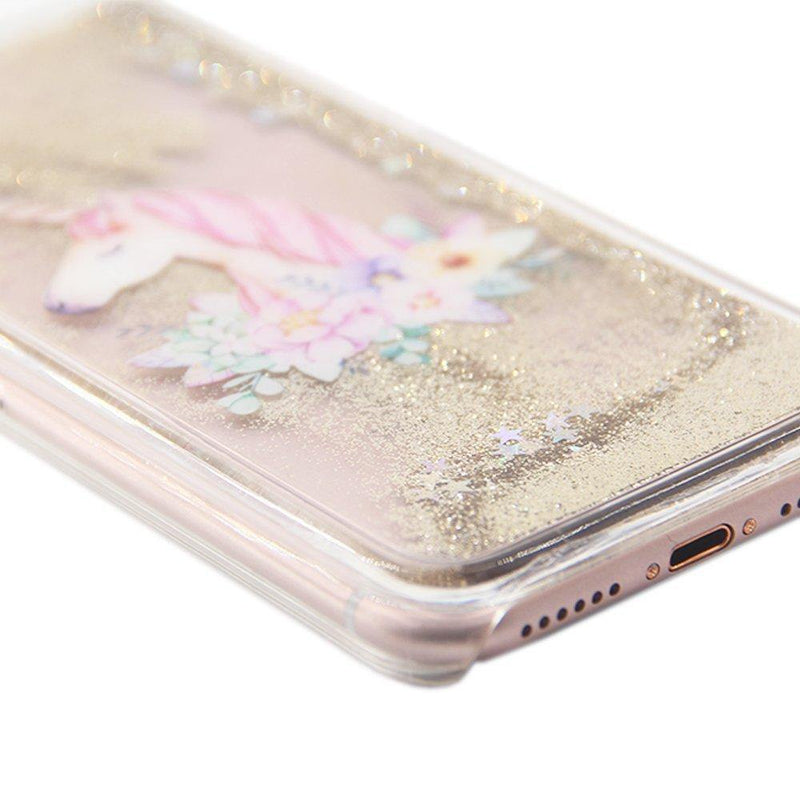 UCOLOR Gold Glitter Floral Unicorn Case for iPhone 7-8 Plus Case-(Gold)