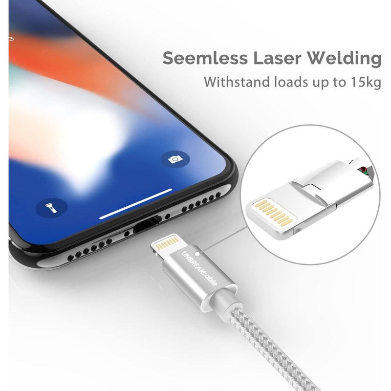 UNBREAKcable 6.6ft/2m Nylon Braided Lightning iPhone Charging & Sync Cable- Model: UBBT099 (Silver) - DealsnLots