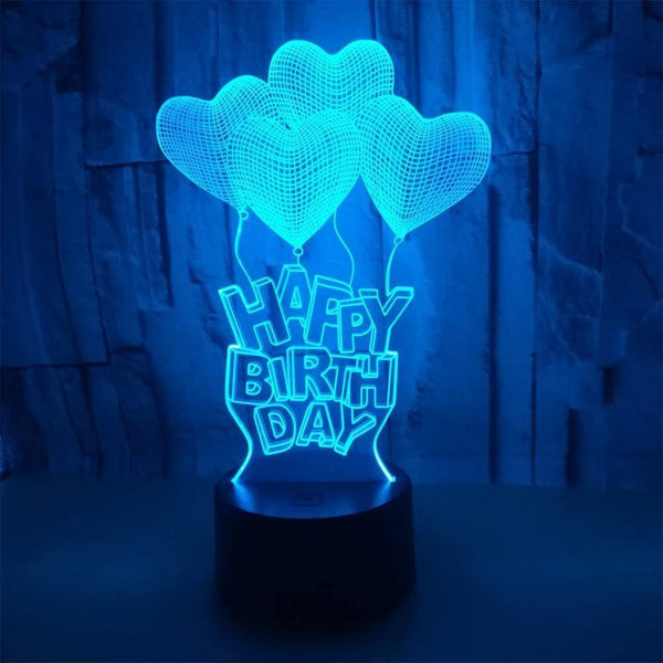 USB LED night lamp with 3D lighting, happy birthday lamp - (Black)