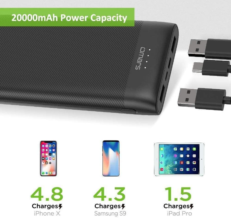 Omars 20000mAh 15W Portable Power Bank With USB-C 3A input and output (Black) - DealsnLots