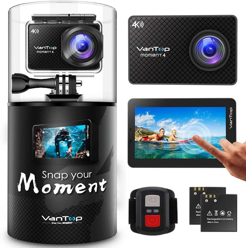 VanTop Moment 4, 4K 20MP Sports Action Camera (Grey/Black)