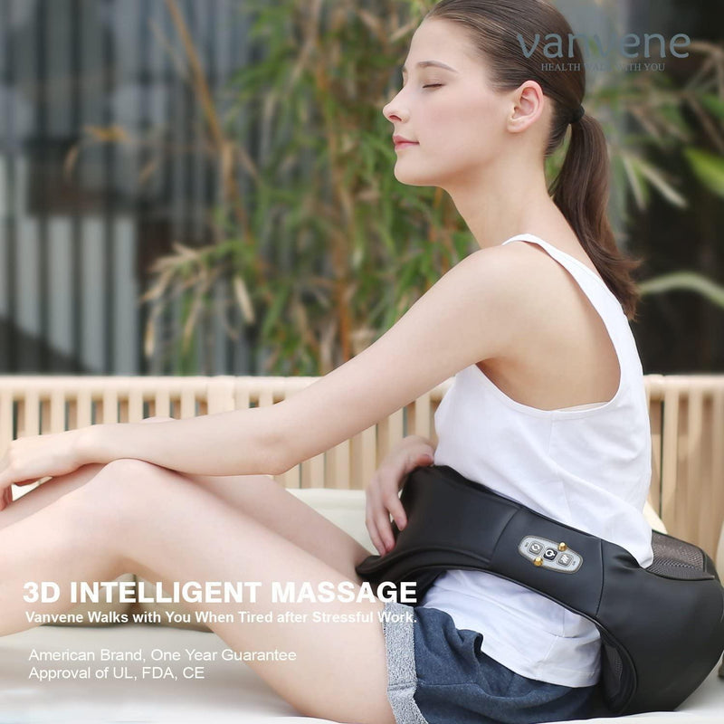 Vanvene 3D Shiatsu Shoulder Massager Adjustable Intensity Heat Function (Black)