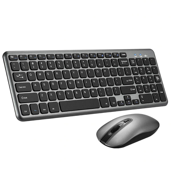 VicTsing PC209 Wireless Ultra Thin Keyboard and Mouse Combo Set with 2.4G USB Receiver -[Grey/Black] - DealsnLots