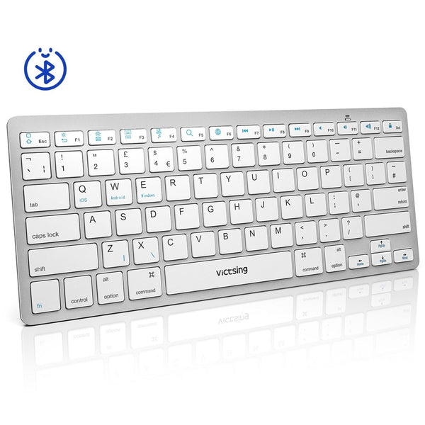 VicTsing Ultra-Slim Portable Bluetooth Keyboard PC172A [Silver/White] - DealsnLots