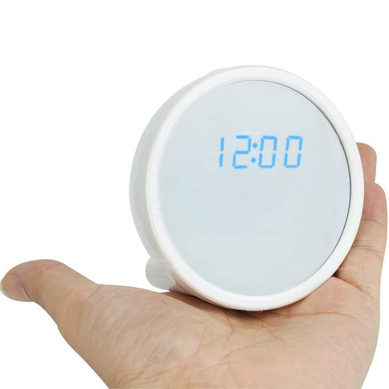 WISEUP Mini Digital Clock with Hidden IP Camera, 1280x720P Motion Detective - Model: WP-WIFI28 (White)