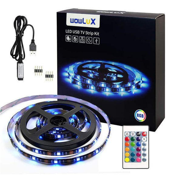 "WOWLUX RGB LED Strip Lights with 24 Key IR Remote Controller for LED/TV (40""-60"")"