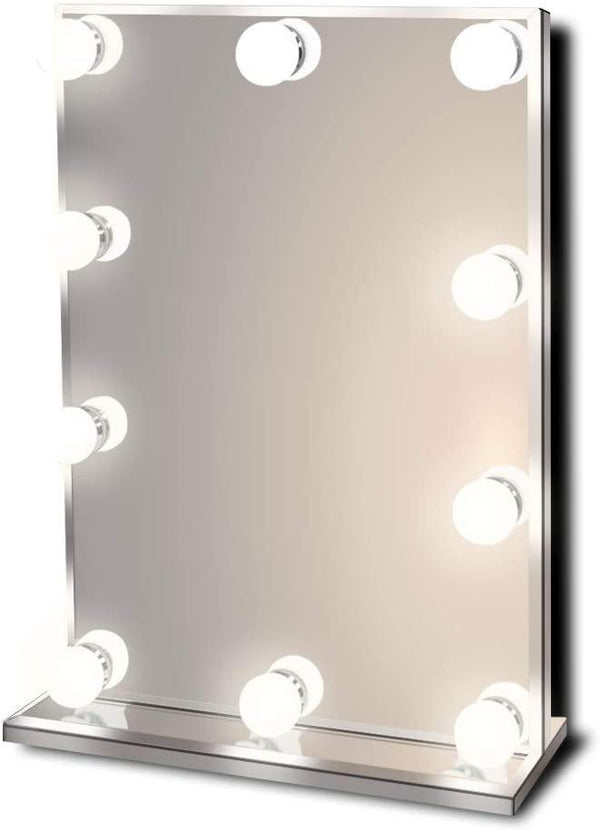 Waneway Lighted Makeup Mirror with Bright LED Lights, Light-up Frameless Dressing Table Cosmetic Mirror (White)
