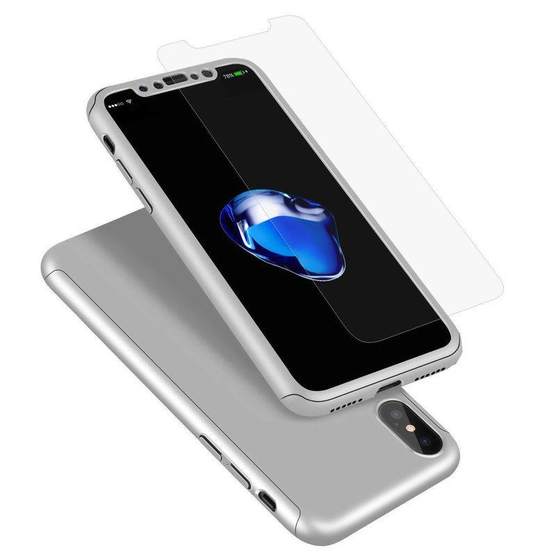Willnorn iPhone X case, Ultra Thin 360 Degree Full Body Protective Case-(Silver)