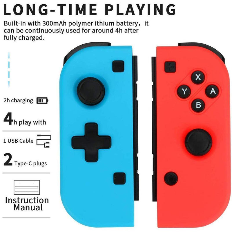 Winkeyes Nintendo Switch Joy-Con Controller Blue and Red - DealsnLots